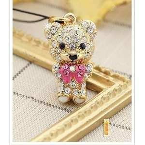 Lovely crystal teddy bear phone charm